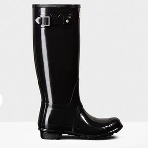 Women's Tall Glossy Black Hunter Boots